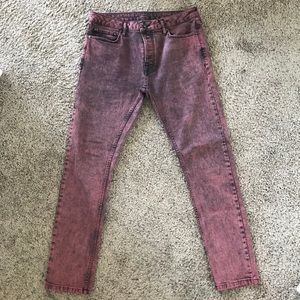 Topman Red Acid Wash Jeans